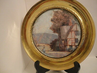 """Vintage English Foil Art Solid Brass Wall Plate  - Cottage and Maiden - 7.5"""""""