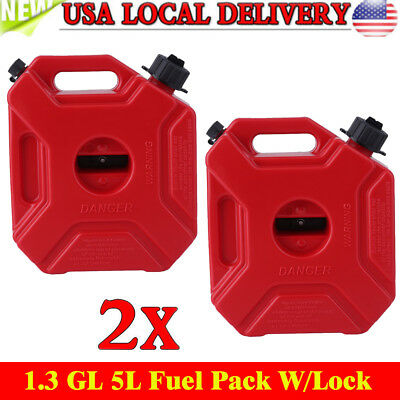 2X 1.3GL,5L Fuel Pack W/Lock Gas Jerry Can Fuel Container Off Road,ATV,UTV,Jeep#