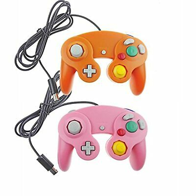 Lot Of 2 GameCube And Wii U Wired Controllers Orange And Pink