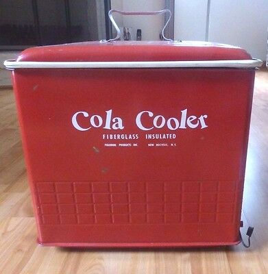 Vintage Red Metal Cola Cooler Poloron Products Insulated Ice Chest 1950's