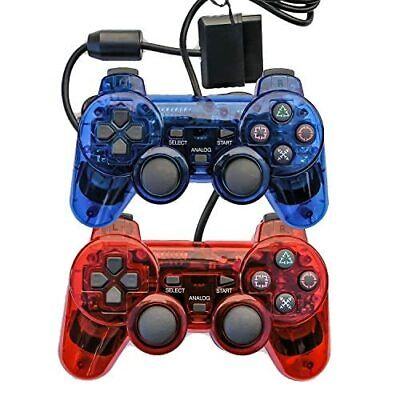 Lot Of 2 Wired Gaming Controllers For PS2 PS1 Double Shock Clear Red And