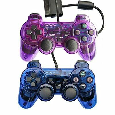 Lot Of 2 Wired Gaming Controllers For PS2 PS1 Double Shock Clear Purple And