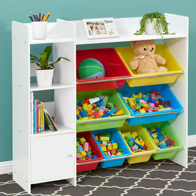 Kids Toy Storage Bookshelf Children Bookcase Organiser White Shelves Furniture