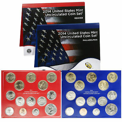 2014 P&D Complete Uncirculated Set of * 28 * Coins US Mint Sealed Box COA U14