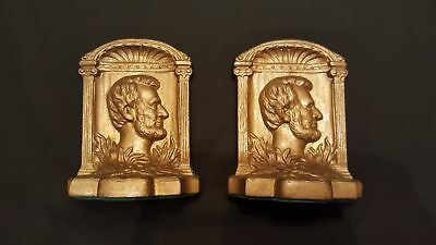 Vintage Pair of Cast  Iron, Bronze Color, Abraham Lincoln Sculptured Profile Boo