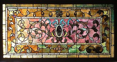 Antique American Stained and Jeweled Glass Transom