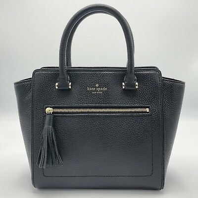 NWT Kate Spade Small Allyn Chester Street Leather Satchel Handbag Black a9a199d22c565