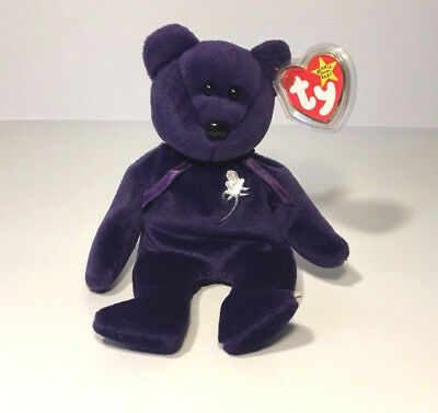 TY Princess Diana RARE 1st Edition1997 Beanie Baby Bear *PE* With Poem Inside