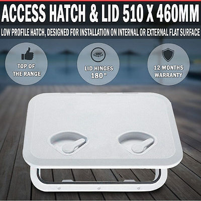 ABS Low Profile RV Boat Deck Access Hatch & Lid 510x460mm Boat/Marine/Caravan/RV