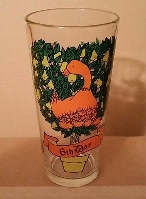 "PEPSI 12 Days Of Christmas Tumbler Glass 6 1/4"" 6th Day 6 Six Geese A Laying"