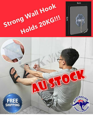 Stick On Adhesive Permanent Wall Hook Suction Hanger for Kitchen Bathroom AU