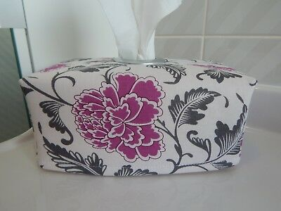 Tissue Box Cover Violet Peony Grey Leaves  With Circle Opening - Lovely Gift