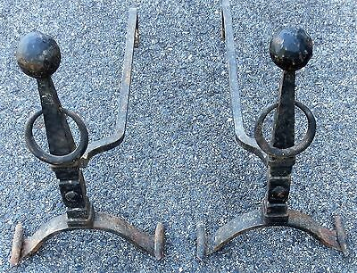 Pair Antique early 1900's Hand Forged Cast Iron Andirons Fireplace Balls Rings