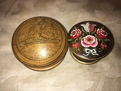Vintage Wooden Pill/Trinket Boxes St.Wolfgan,Painted Floral And Sailing Vessel