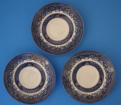 """3 Churchill Blue Willow 5 1/2"""" Made In Staffordshire England"""