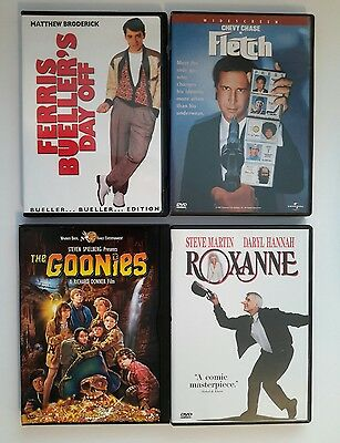 *LOT OF 4 80's DVDs* Ferris Bueller's Day Off, Fletch, The Goonies, and Roxanne