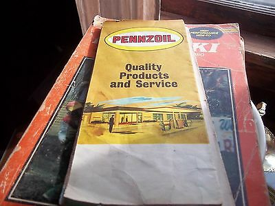 vintage PENNZOIL road map of Delaware Maryland West Virginia 1960's- 1970's