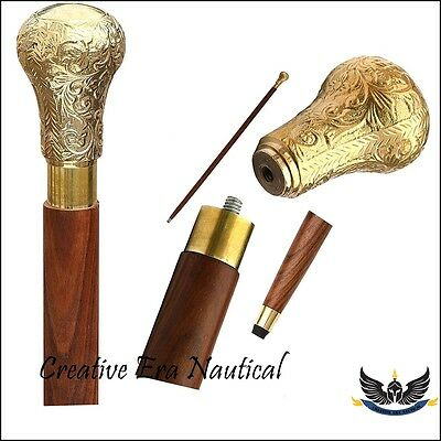 Vintage Solid Brass Handle Victorian Knob And Wood Walking Stick /Cane