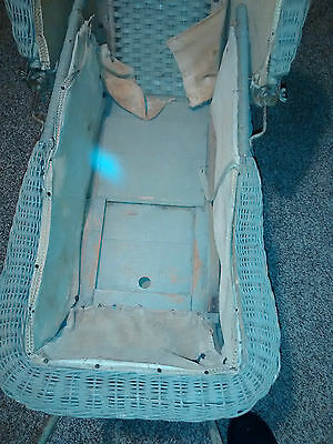 Antique Vintage Baby Stroller Buggy Wicker with Metal  Frame