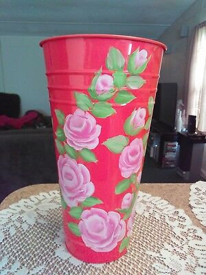 Shabby Chic Hand Painted Roses  Pink Tin Vase Bucket