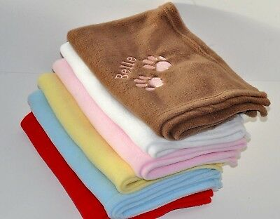 Personalised Embroidered Pet Dog Cat Fleece Blanket Paws  Any Name or Message