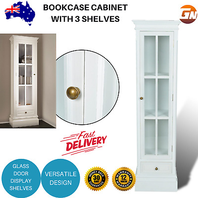 White Cupboard Display Cabinet Wooden Glass Bookcase Shelves Storage Home Office