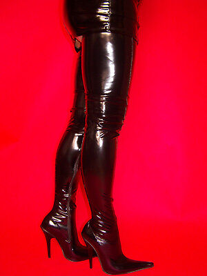 Details about LATEX RUBBER HIGHS BOOTS SIZE 5 16 HEELS 5,5
