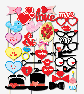 32PCS Valentines Day Supplies Decoration Photo Booth Party Props Heart Love Bird