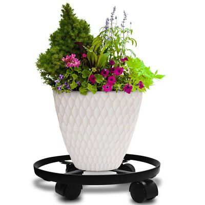 """14"""" Metal Plant Caddy Heavy Duty Iron Potted Plant Stand W/ Wheels Round Flower"""