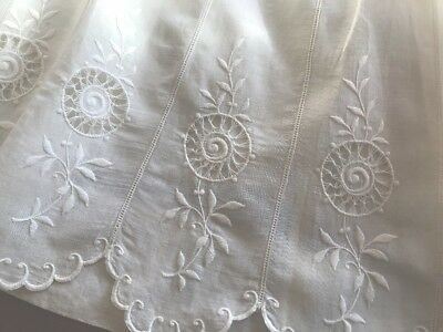 Antique VINTAGE Fine White Cotton LONG Petticoat EXQUISITE OPEN WORK EMBROIDERY