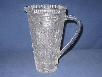 """Vintage Pressed Glass Clear Water Pitcher 8"""" Tall Narrow"""