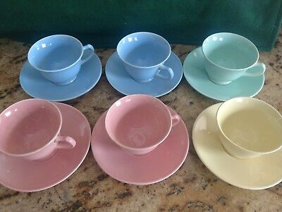 Lu Ray Pastel Tea Cup And Saucer  Lot choice blue, green, pink or yellow