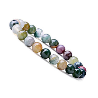 Natural 6mm Gorgeous Indian Agate Healing Crystal Stretch Beaded Bracelet Unisex