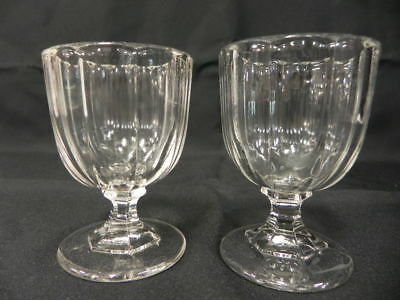 Eapg Antique Flint Glass Lot Of 2 Cordials Open Salts Oval Wide Ribbing