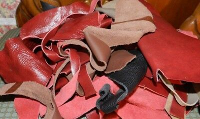 Crafting Materials, LARGE Lot of Genuine Leather, Small Pieces, 12 Oz.