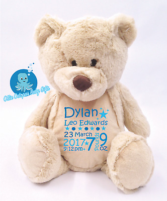 Personalised Baby Teddy Bear Gift personalised soft toy Christening Baby gift