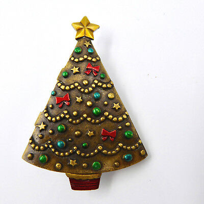 Vtg JJ Articulated Christmas Tree Pin Brooch Opens Closes Enamel Antiqued Gold