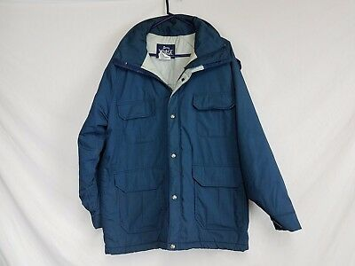 Men's Woolrich Thinsulate Heavy Winter Blue Vintage Parka Jacket with Hood,Large