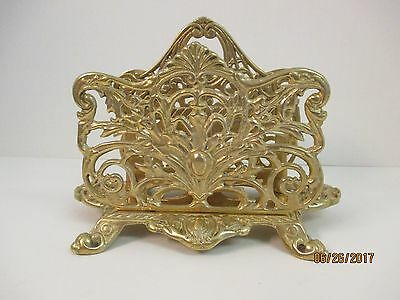 Heavy Vtg Brass Art Nouveau Style Napkin/letter Holder Organizer With Handle