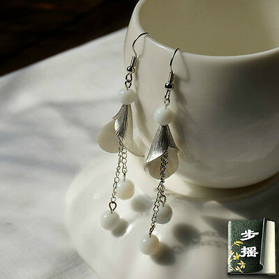 Hand made Chinese White Lily Antique Asian Style Ancient Earrings