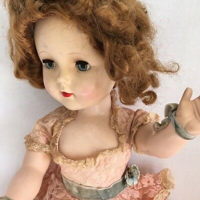 "1950s American Character 24"" Sweet Sue Walker Doll Pink Cotillion Dress Red Hair"