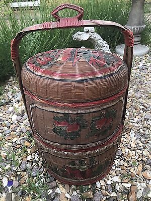 Beautiful Hand Painted Antique Chinese Wedding 2 Tier Bamboo Basket