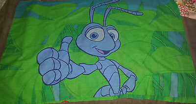 Vtg Disney Pixar A Bug's Life Flick the Ant Double Sided Pillowcase bright guc