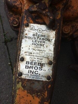 Very Well Used Dirty And Rusty Beebe Roustabout Lever-Hoist LH600 3 Ton Capacity