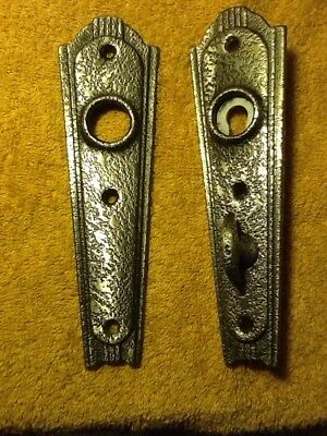 Pair 30'S 40'S Art Deco Antique Style Pewter Door Knob Backplates Thumb Lock
