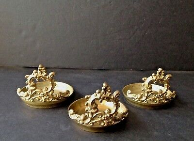 Lot of 3 Vintage Solid Brass Victorian Ornate Table Top Candle Holders