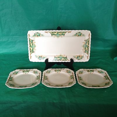 Myott Staffordshire Serving Tray & 3 Square Plates Green Brown Floral