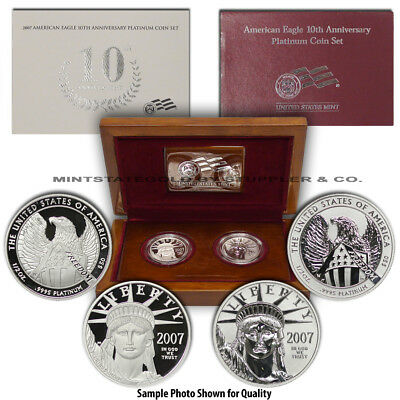 Set of 2 2007-W $50 Platinum Eagle Proof and Reverse Proof w/ Mint Box and CoA