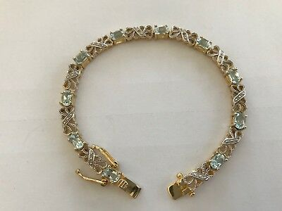 "Beautiful Vint STERLING SILVER w/ AQUAMARINES Fancy 7.5"" Bracelet & Gold Vermeil"