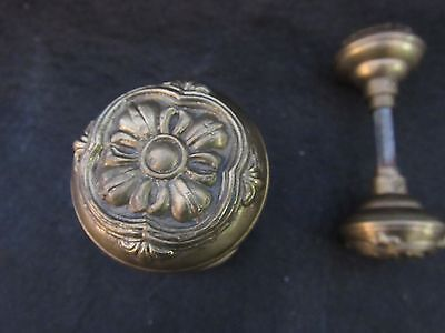 1 Pair of Antique Vintage Solid Brass Door Knobs - Working Condition